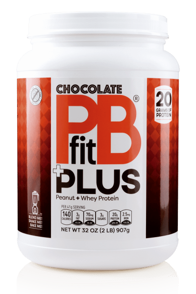 white 32 oz container of pb fit chocolate peanut powder