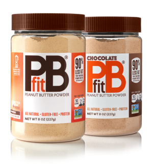 two containers of original and chocolate sugar-free powdered nut butter