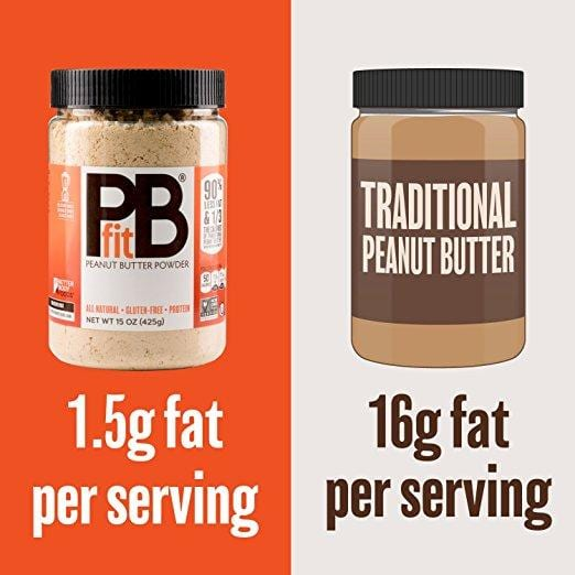 pb fit container of powdered nut butter next to a container of traditional peanut butter